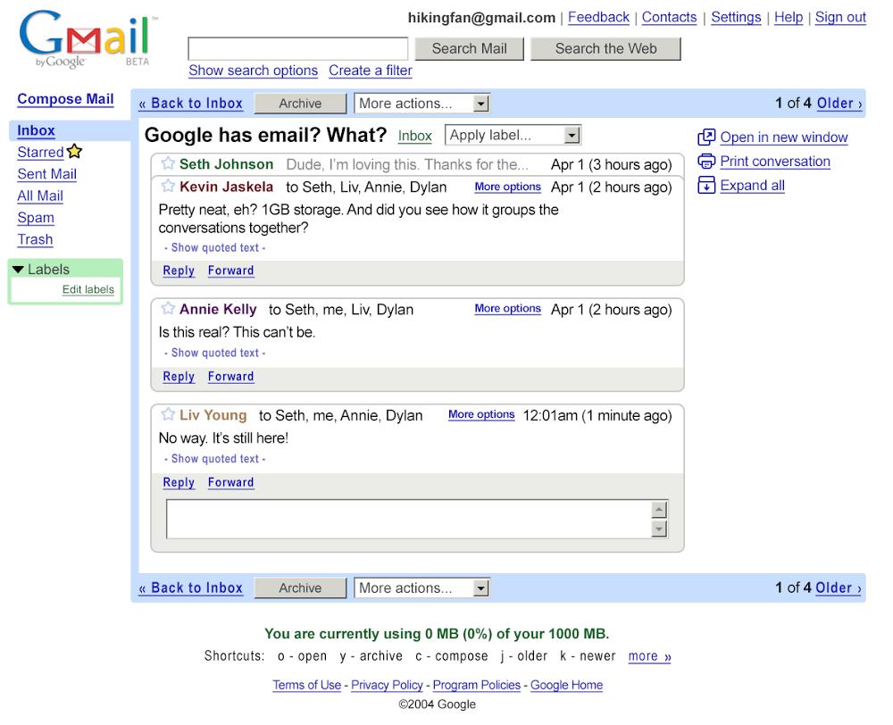 Tak wyglądał Gmail w 2004 roku