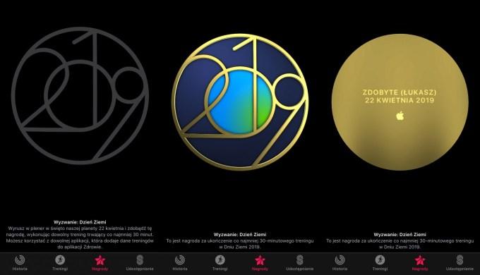 Odznaka za wyzwanie Dzień Ziemi w zegarku Apple Watch