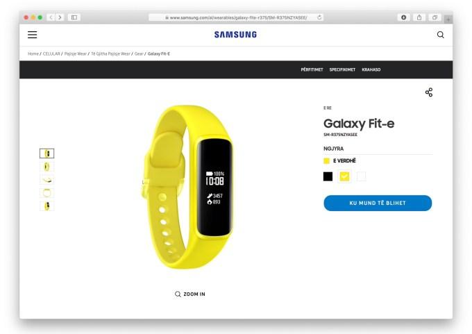 Zrzut ekranu z albańskiej strony Samsung Galaxy Fit-e