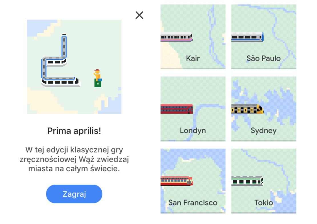 Snake w Google Maps - screen