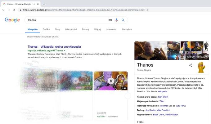 """Efekt działania easter egga dla frazy """"Thanos"""" w wyszukiwarce Google"""