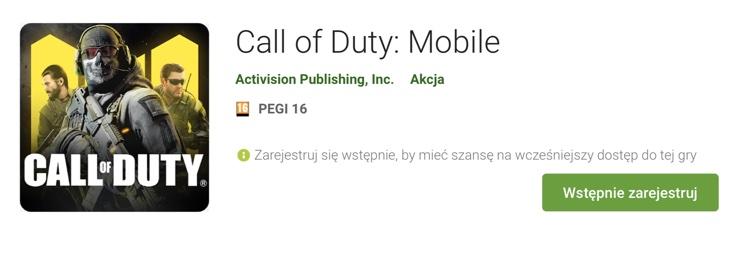 """Wstępna rejestracja """"Call of Duty: Mobile"""" w sklepie Google Play"""