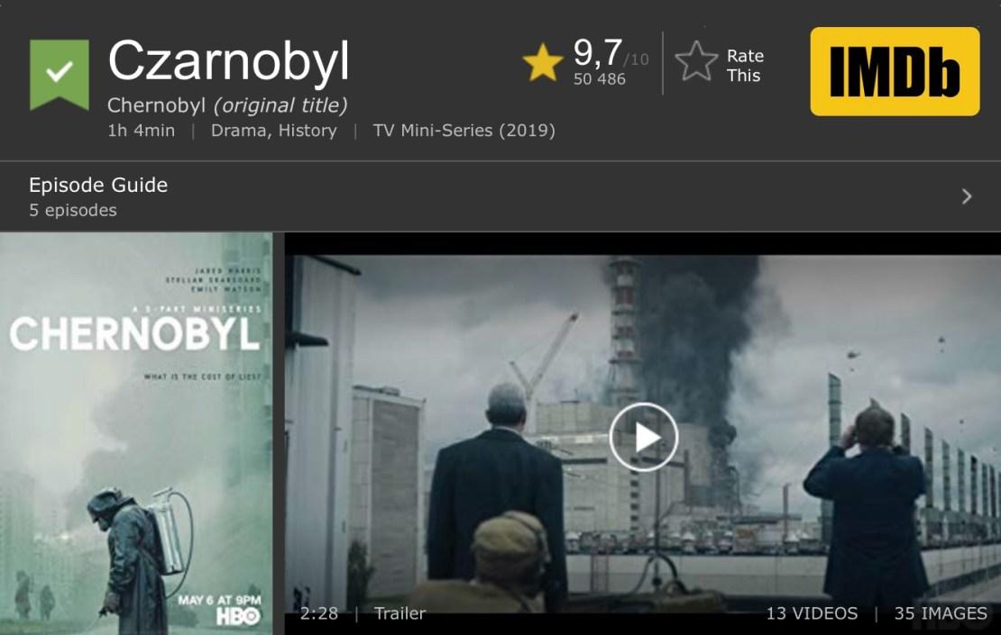 "Ocena serialu ""Czarnobyl"" w rankingu IMDb (maj 2019)"