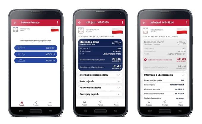 Zrzuty ekranu usługi mPojazd z aplikacji mObywatel