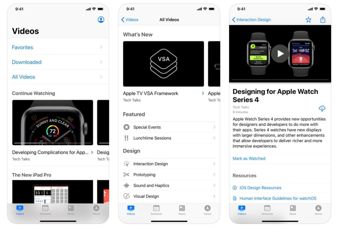 Zrzuty ekranu z aplikacji mobilnej WWDC
