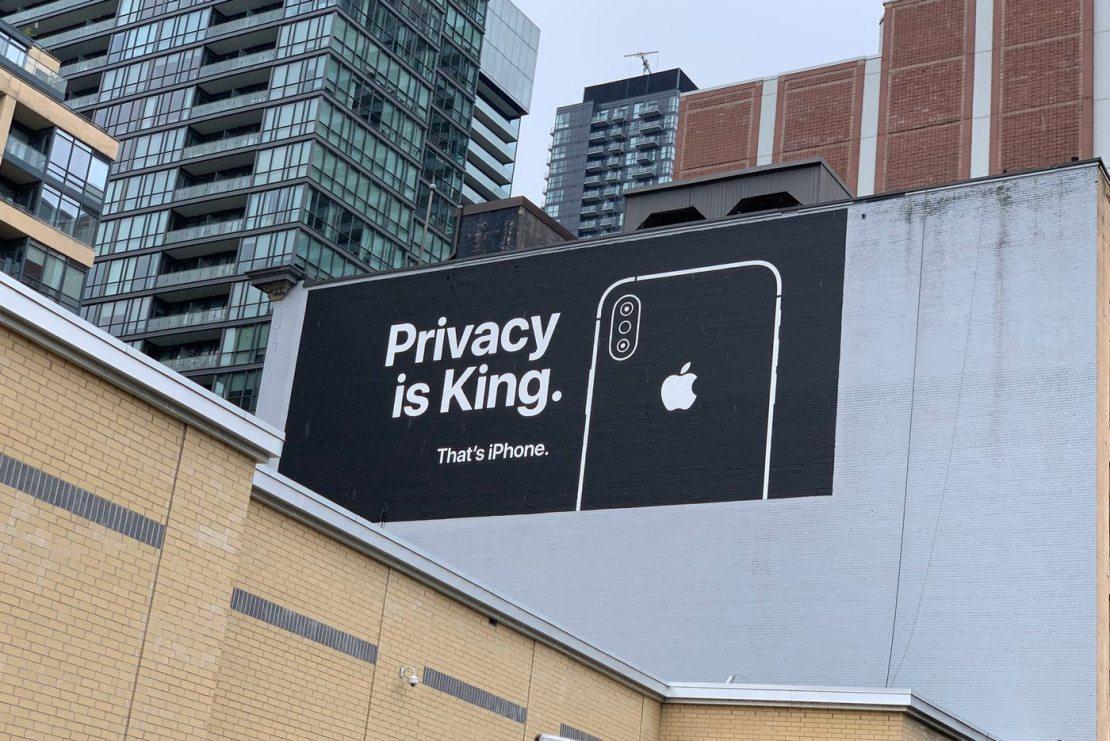 """Billboard Apple'a dot. prywatności - Kanada """"Privacy is a King"""" (2019)"""