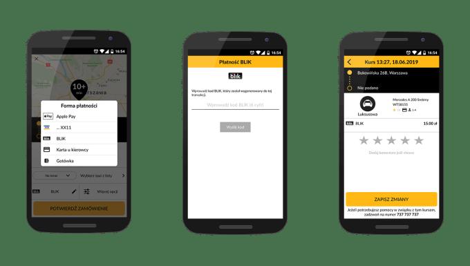 BLIK w aplikacji mobilnej iTAxi (screen)