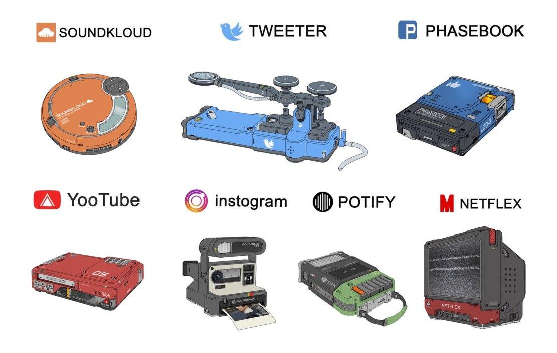 Retro grafiki usług technologicznych (by Sheng Lam)