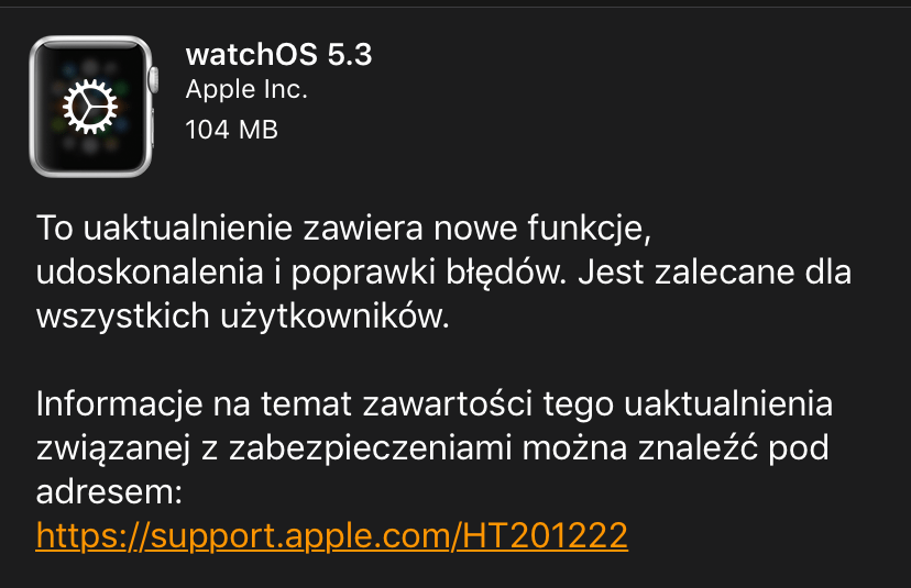 watchOS 5.3 update