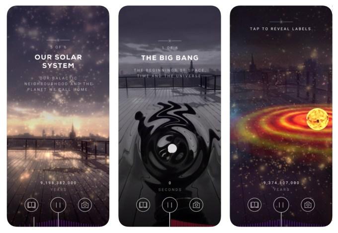 Zrzut ekranu z aplikacji mobilnej Big Bang AR