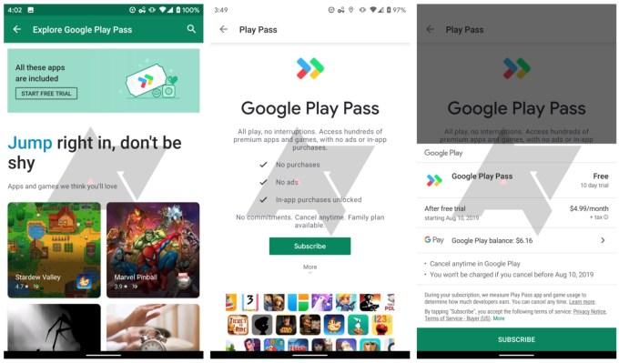 Zrzuty ekranu z usługi Google Play Pass