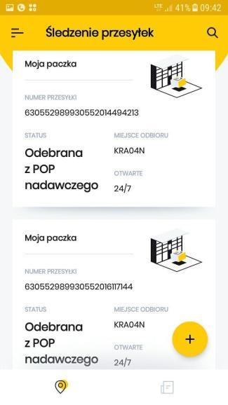 Screen z aplikacji InPost Mobile