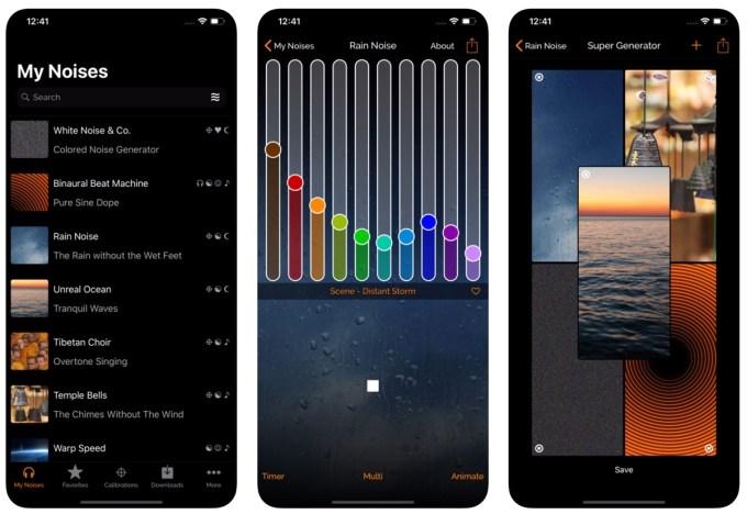 Zrzuty ekranu z aplikacji mobilnej myNoise