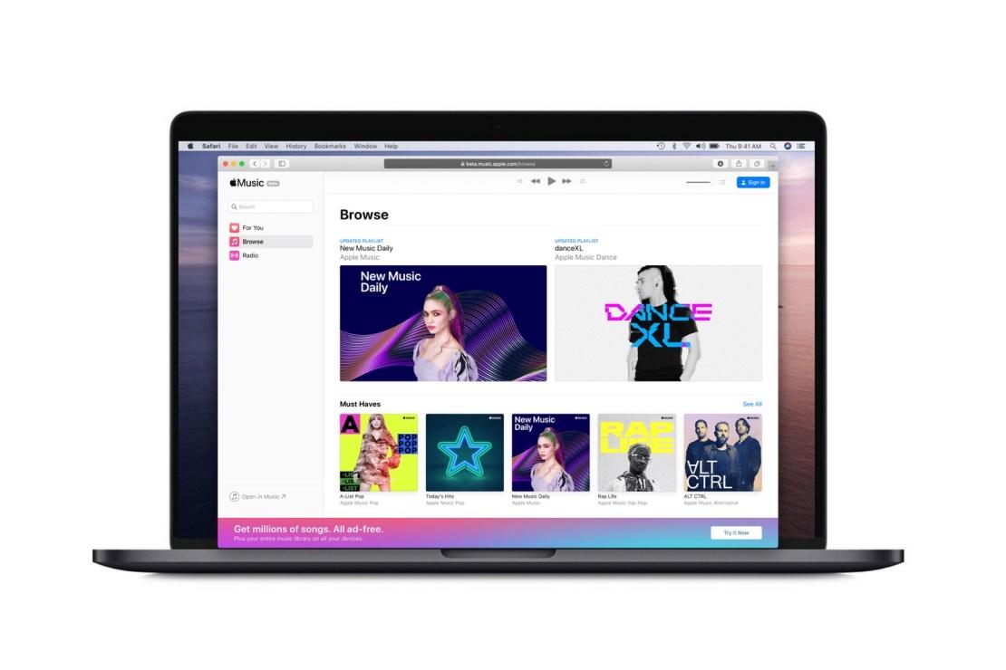 Przeglądarkowa wersja serwisu Apple Music