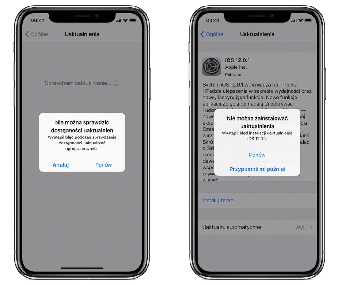Błędy przy aktualizacji systemu iOS