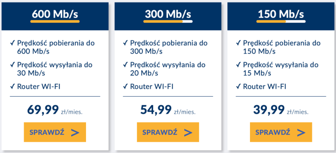 Vectra: cennik internetu stacjonarnego (wrzesień 2019)