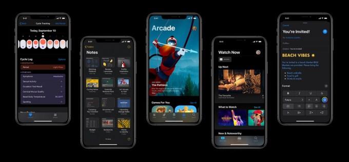 Zrzuty ekranu z systemu iOS 13