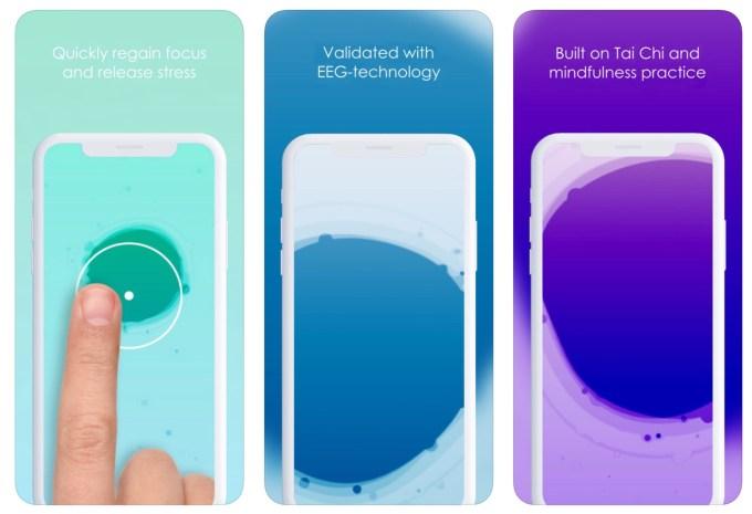 "Zrzuty ekranu z aplikacji ""Pause: Interactive Meditation"""