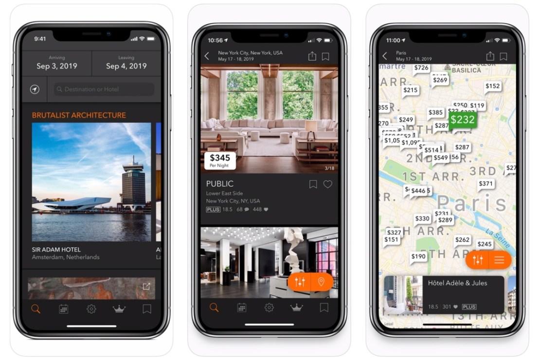 """Zrzuty ekranu z aplikacji mobilnej """"Tablet Hotels"""""""