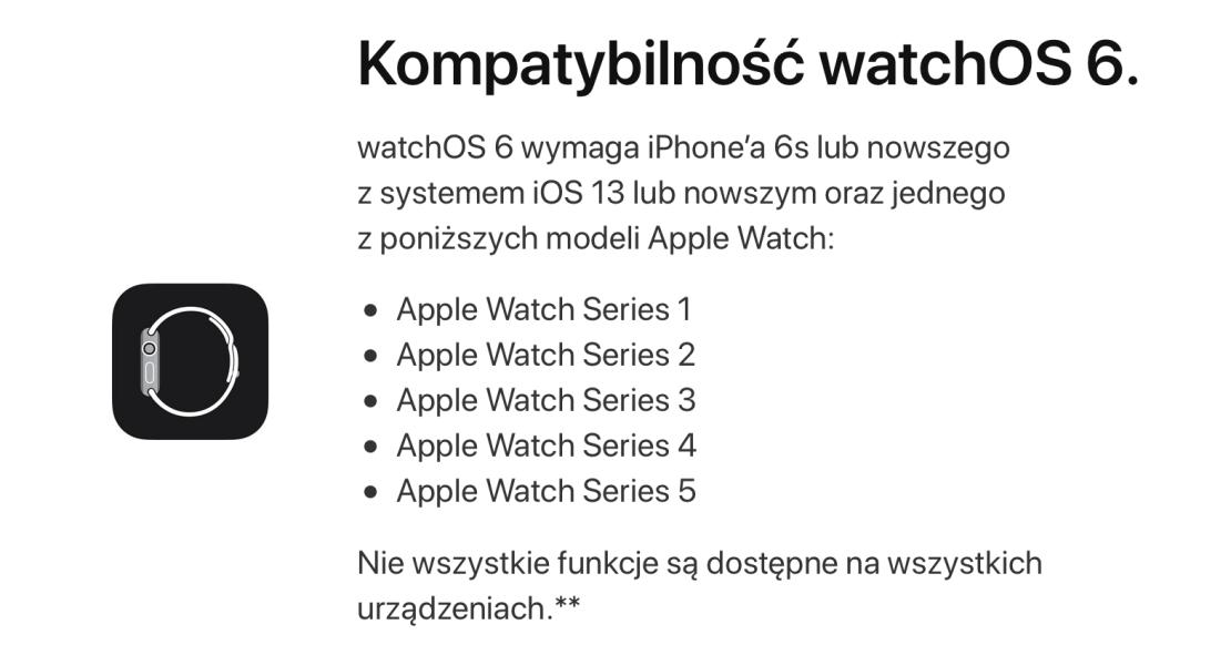 Kompatybilność z systemem watchOS 6