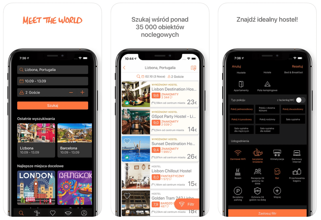 Zrzuty ekran z aplikacji Hostelworld: Hostels & Backpacking Travel App