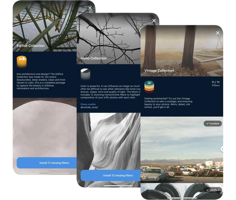Infltr - zrzuty ekranu z aplikacji