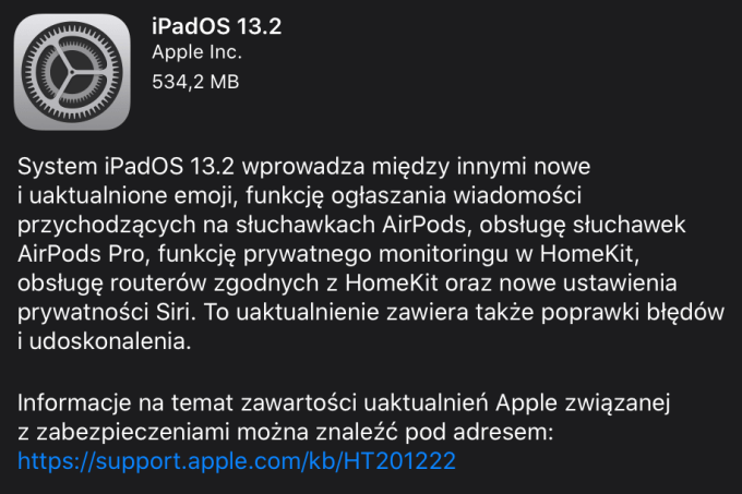 iPadOS 13.2 OTA