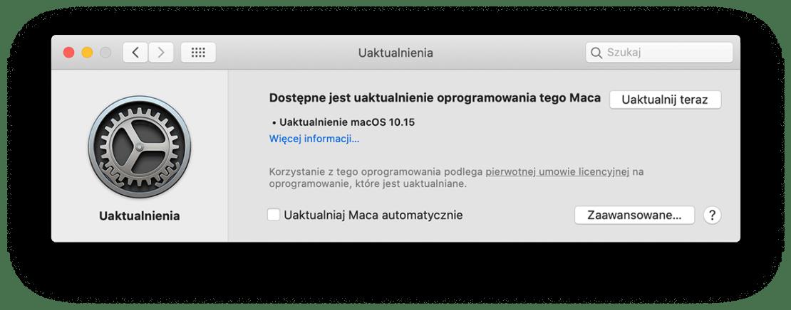 Uaktualnienie uzupełniające systemu macOS 10.15 Catalina