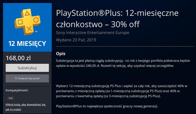 Członkostwo PlayStation Plus 30% taniej (168 zł)