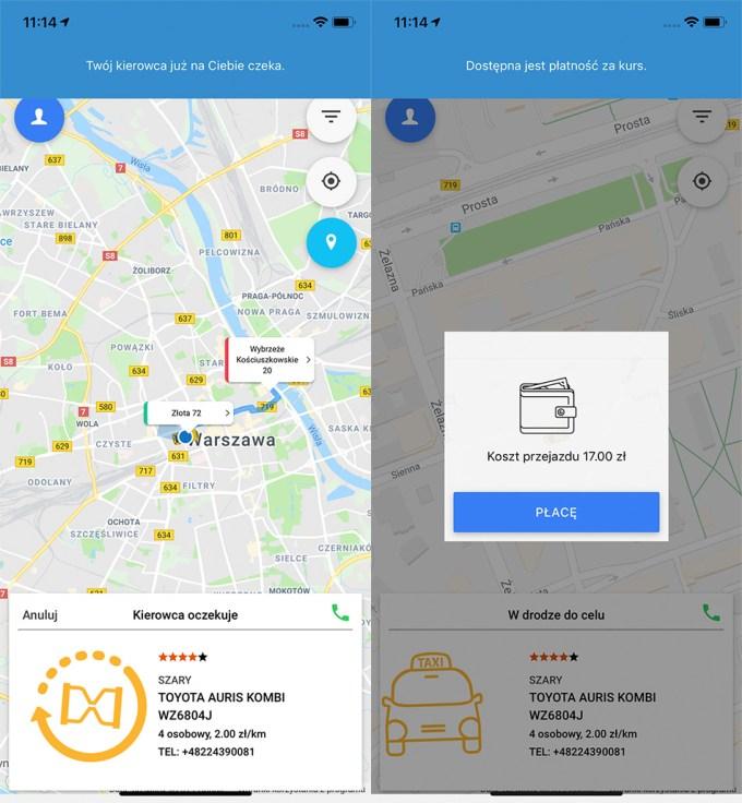 Zrzut ekranu z aplikacji mobilnej Skycash z iTaxi