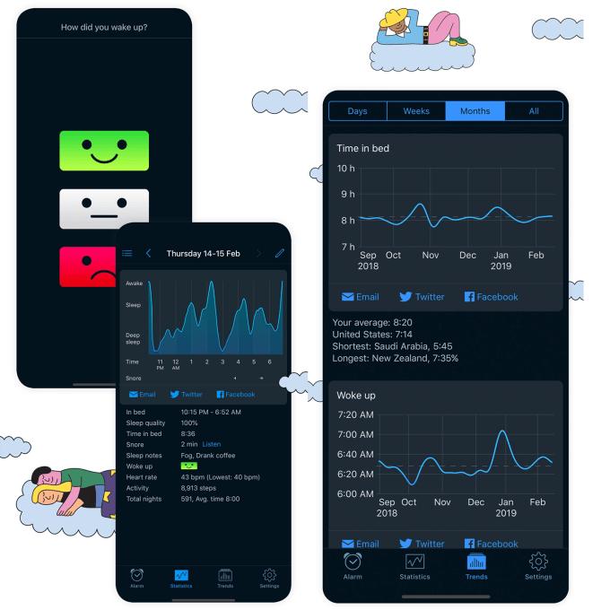 Zrzuty ekranu z aplikacji Sleep Cycle