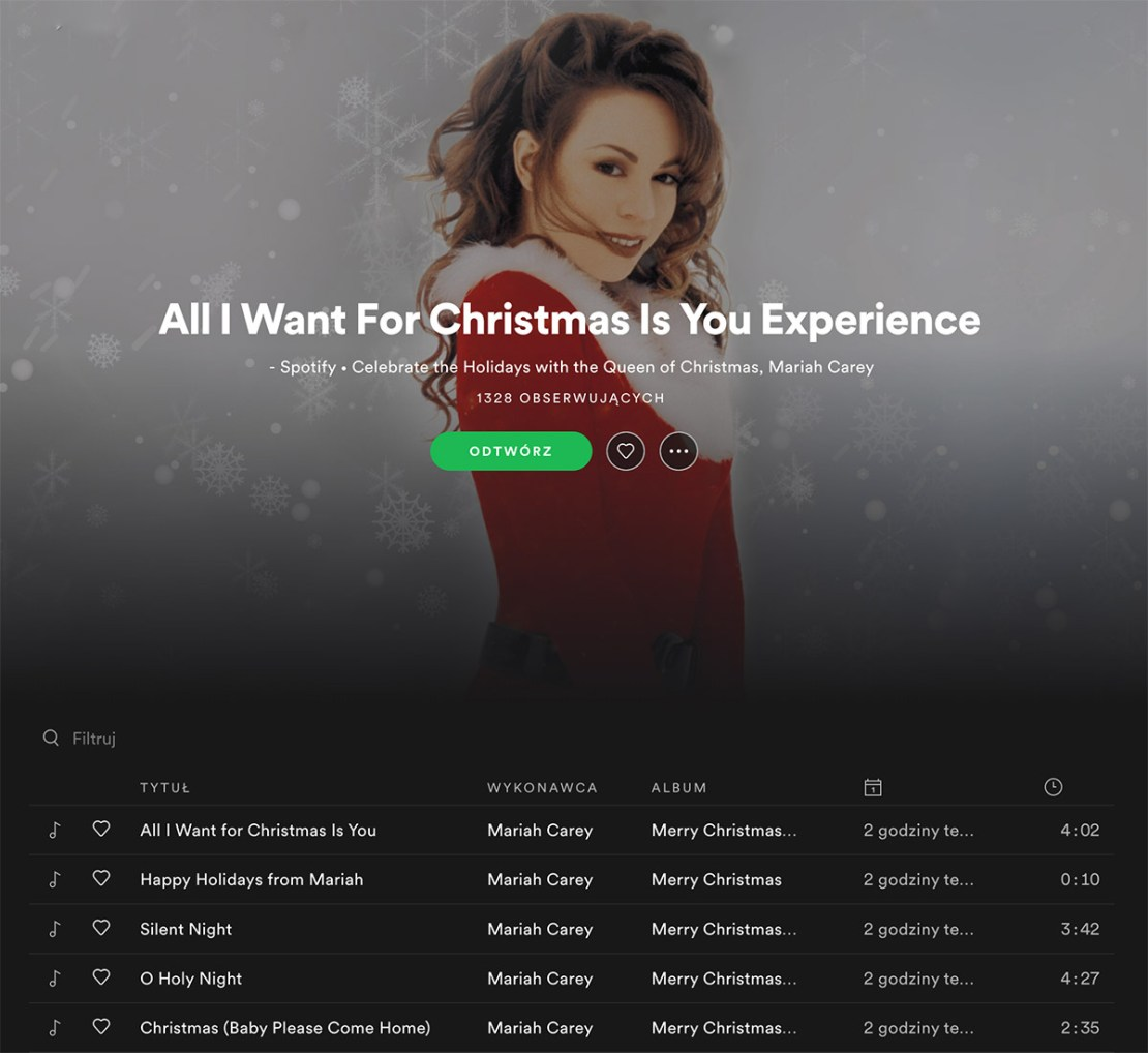 Mariah Carey – All I Want For Christmas Is You Enhanced Album (Spotify)