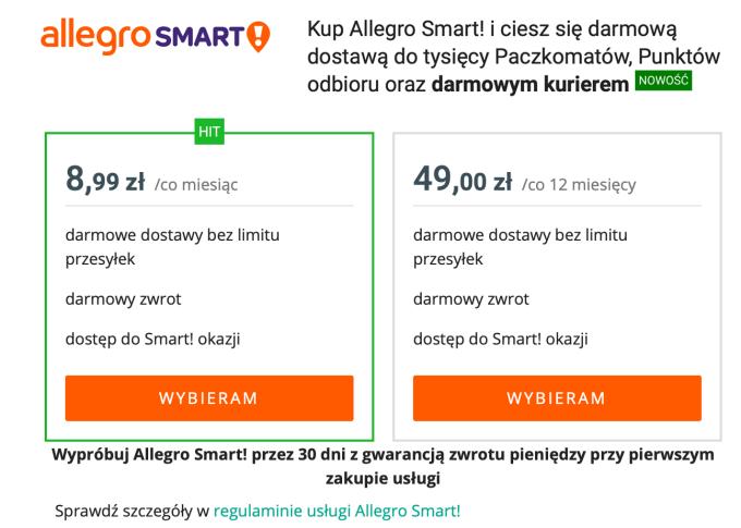 Cennik Allegro Smart! (stan na 26.11.2019 r.)