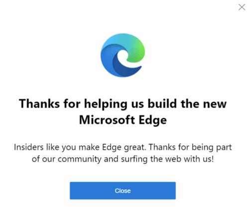 Popup z nowym logo przeglądarki Edge