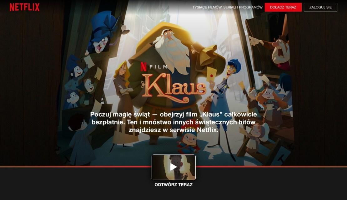 """Zrzut ekranu ze strony z filmem """"Klaus"""""""