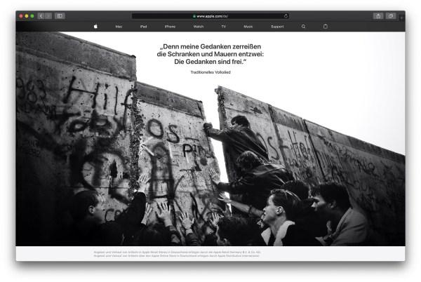 Strona Apple'a z okazji 30. rocznicy upadku Muru Berlińskiego