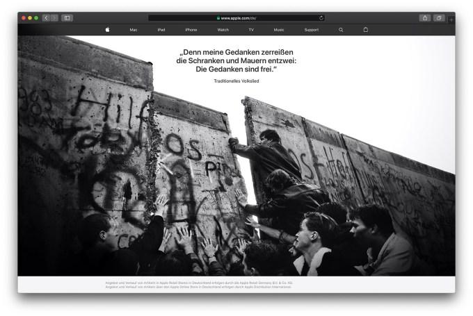 Niemiecka strona główna Apple.com z okazji 30. rocznicy upadku Muru Berlińskiego #BerlinWall30