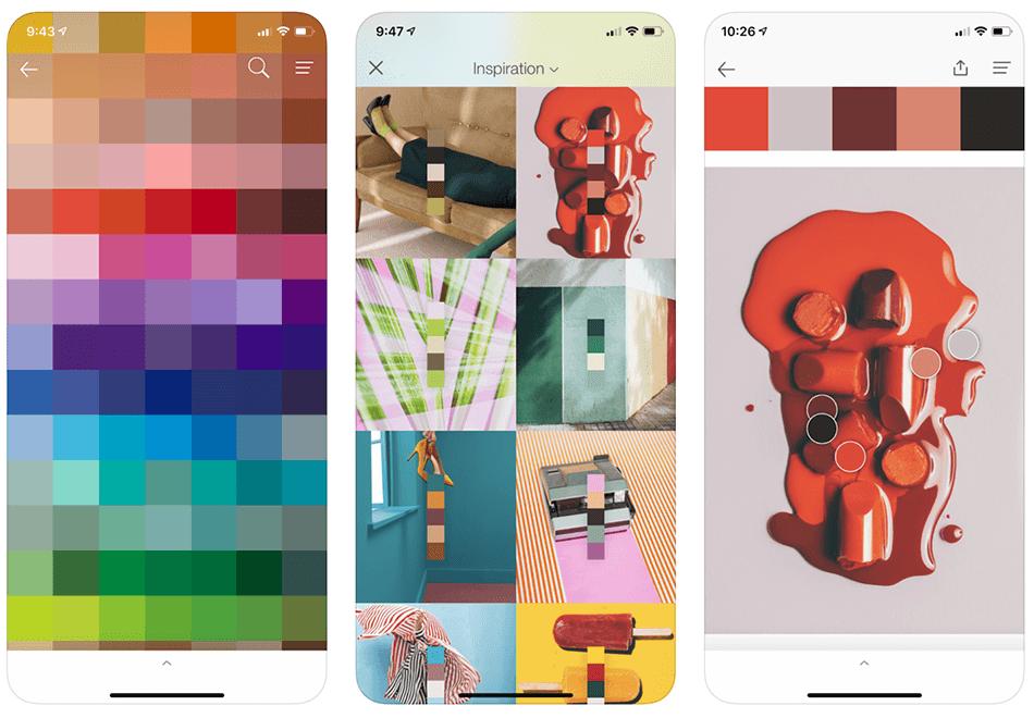 Zrzuty ekranu z aplikacji mobilnej PANTONE Studio