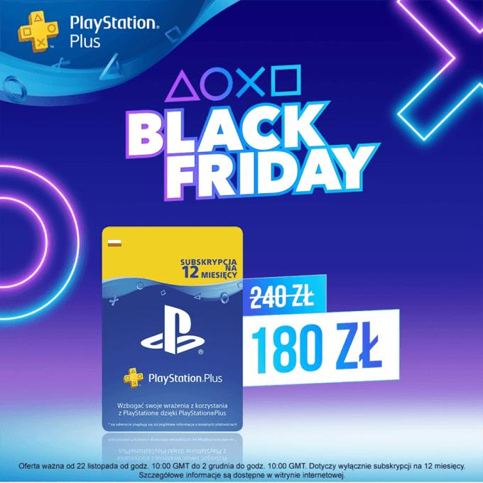 PlayStation Plus 180 zł/12 mies. (Black Friday)