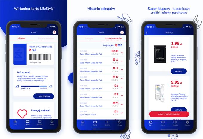 Zrzuty ekranu z aplikacji mobilnej Super-Pharm Polska