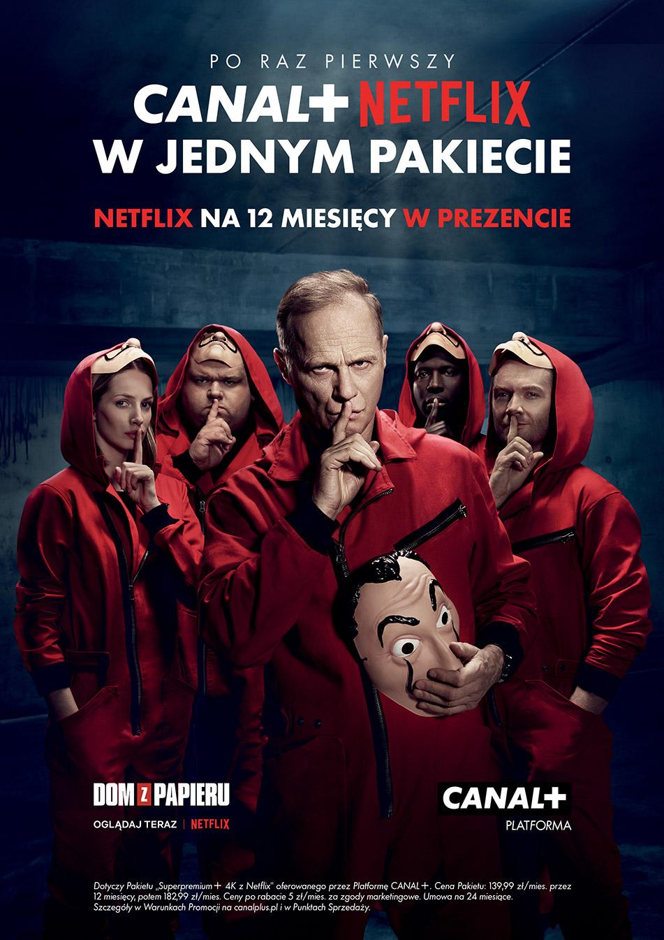Plakat promujący pakiety Netflix z Canal+