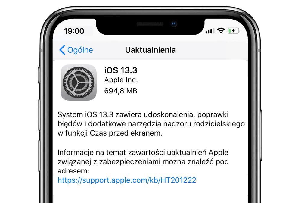 iOS 13.3 (uaktualnienie systemu OTA)