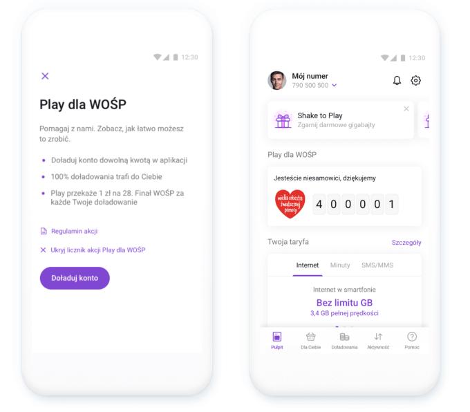 Zrzuty ekrany z aplikacji Play24: akcja Play dla WOŚP!