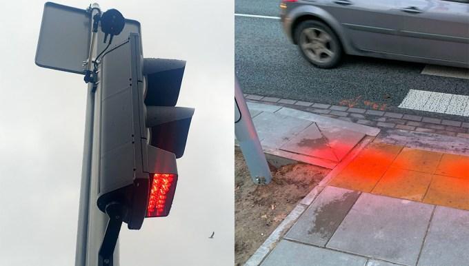 Sygnalizacja świetlna dla zapatrzonych w smartfony na warszawskim Ursynowie