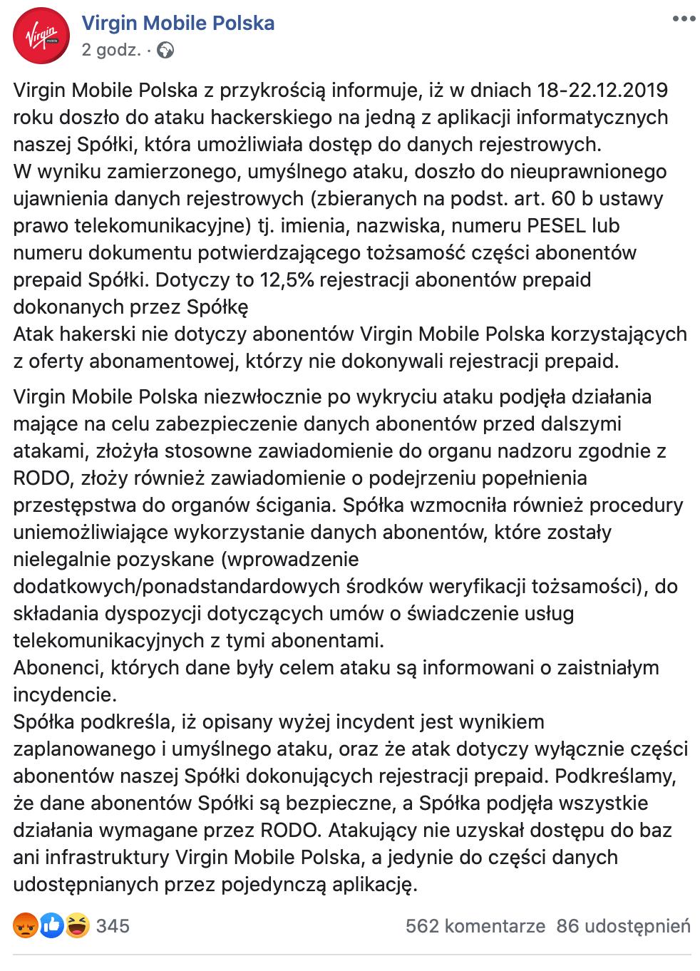 Komunikat Virgin Mobile Polska o wycieku danych (25.12.2019 r.)