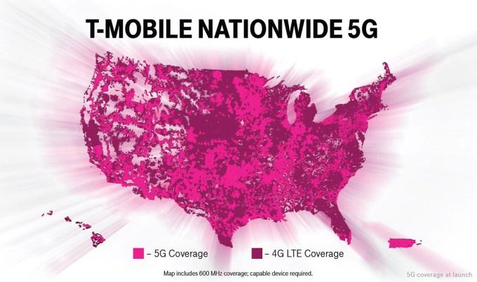 Zasięg sieci 5G w T-Mobile (USA)