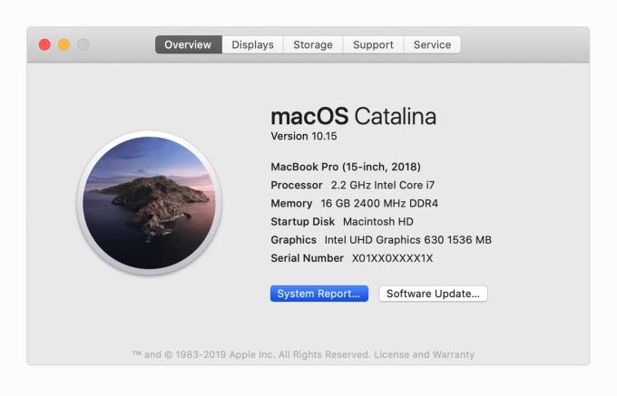 Informacje o systemie i urządzeniu pod macOS Catalina
