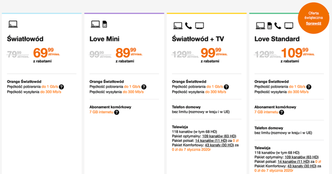 Orange: cennik internetu stacjonarnego oraz pakietu internet do 1 Gb/s + TV (styczeń 2020)