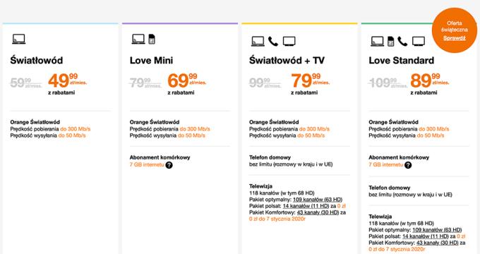 Orange: cennik internetu stacjonarnego oraz pakietu internet do 300 Mb/s + TV (styczeń 2020)