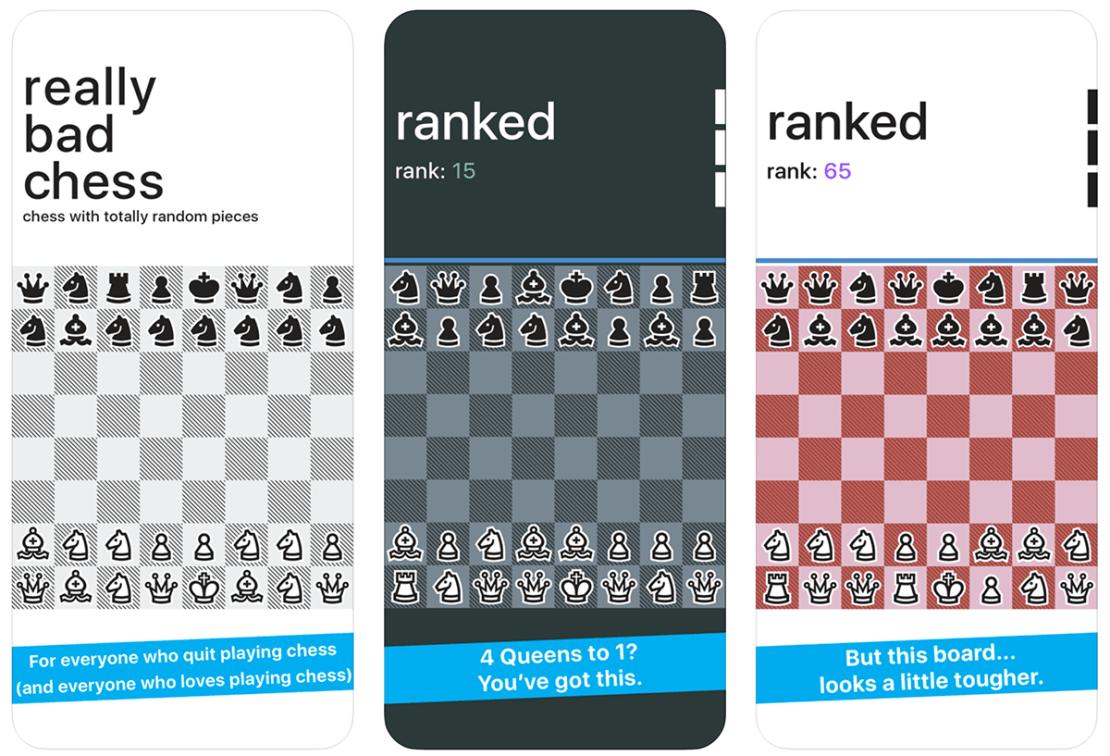 """Zrzuty ekranu z gry mobilnej """"Really Bad Chess"""""""